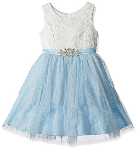 Rare Editions Girls' Big Lace and Mesh Cascade Special Occasion Dress, Ivory/Blue 12