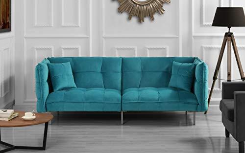 DIVANO ROMA FURNITURE Modern Plush Tufted Velvet Fabric Splitback Living Room Sleeper Futon (Sky Blue)