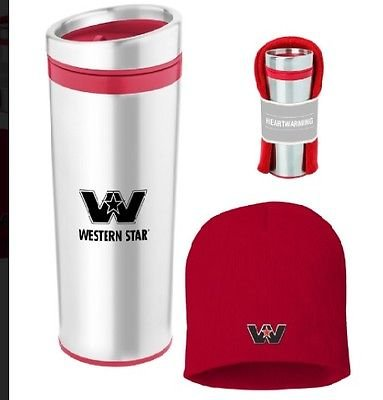 Western star gift pack stainless coffee cup mug beanie stocking ()