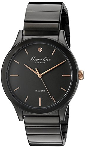 Kenneth Cole New York Women's 10026579 Genuine Diamond Analog Display Japanese Quartz Black Watch