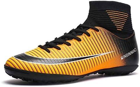 靴 人のための最高の滑り止めの身につけられるおよび快適なフットボールのブーツのサッカーのクリート (色 : TF Black Yellow, サイズ : 8.5)