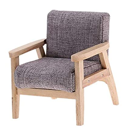 Remarkable Eatingbitingr 1 12 Dollhouse Miniature Furniture Living Room Wooden Single Grey Wooden Sofa Chair Elegant Doll House Bedroom Modern Sofa Fairy Machost Co Dining Chair Design Ideas Machostcouk