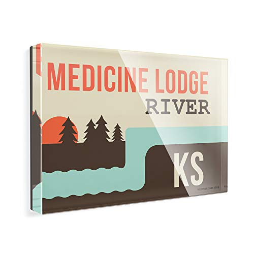Acrylic Fridge Magnet USA Rivers Medicine Lodge River - Kansas NEONBLOND