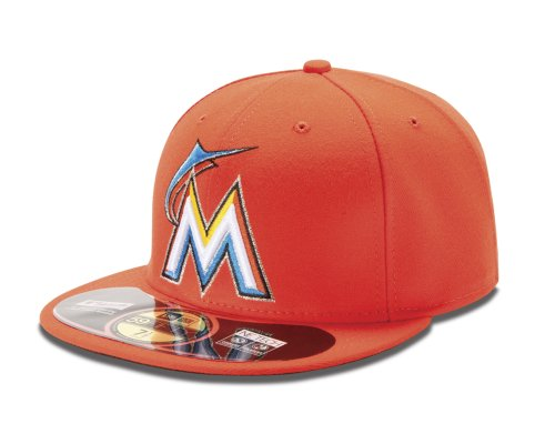 New Era MLB Miami Marlins Road AC On Field 59Fifty Fitted Cap, Orange, 7 3/8 - Era Cap New Alternate