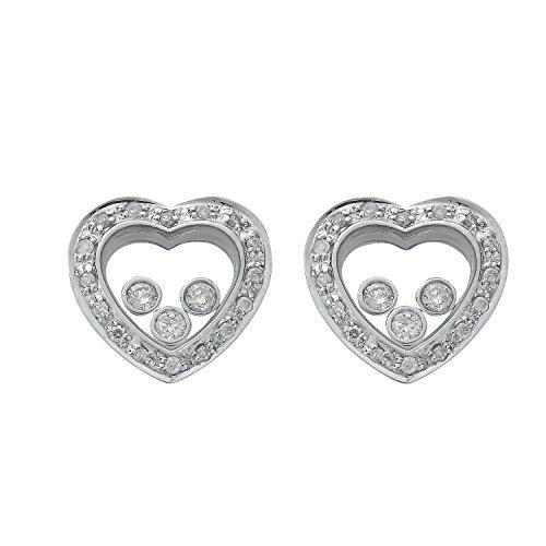 Jareeya-Cœur ouvert Boucles d'oreille à tige avec filet 3diamants, Or blanc 9ct, diamants 0,35CT