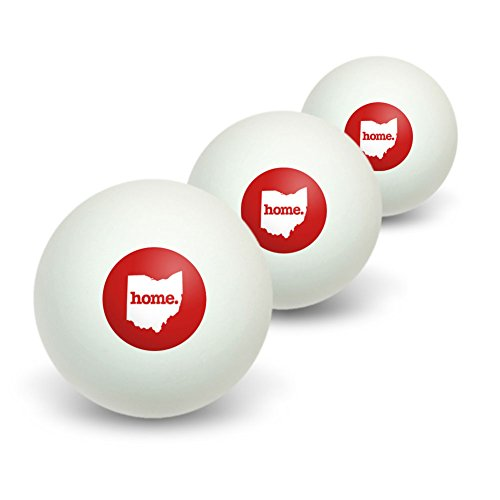 Ohio OH Home State Table Tennis Ping Pong Ball 3 Pack - Solid Red