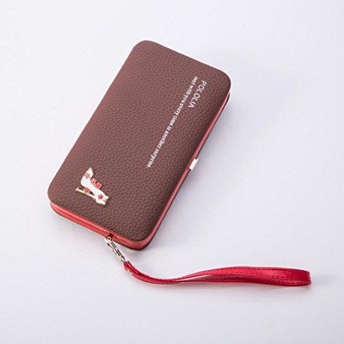 Bolso de mano, brezeh cartera de piel Para Mujer, Clutch bolso de mano titular de la tarjeta funda para el móvil negro marrón tamaño único marrón