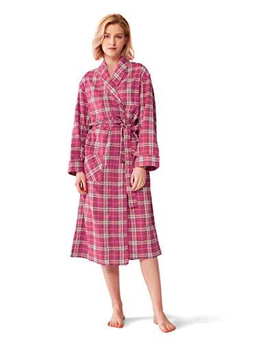 (SIORO Womens Flannel Robes Soft Cotton Plaid Bathrobe Shawl Collar Loungewear,Fuchsia XL)