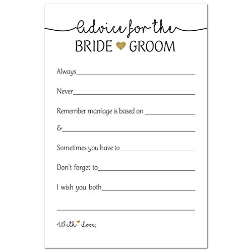 48 Gold Heart Advice Cards for Bride & Groom, Wedding Advice, Marriage Advice, Newlywed Advice