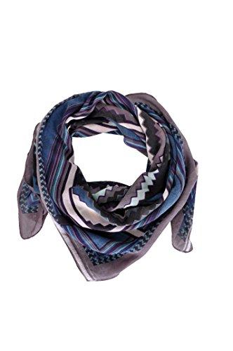 Palme - [42223] - Carré Femme - Imprimé Graphique Diagonal - Bleu - 100X100 Cm