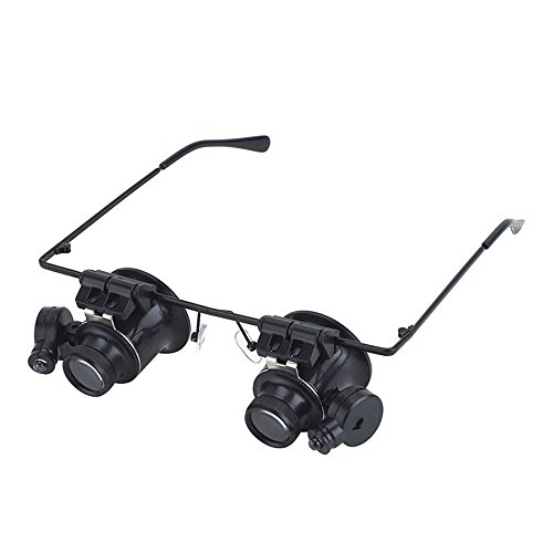(Nadalan Magnifying Glass Eye Mirror Eyepiece Glasses Type LED Lights Magnifier Loupe Jeweler Magnifying Glasses Tool 20X )