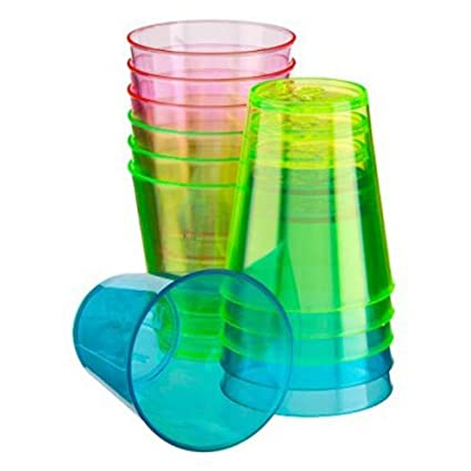 36 x Plastic Shot Glass Neon 3cl 30ml Glasses Jelly Cups Disposable Party Pack