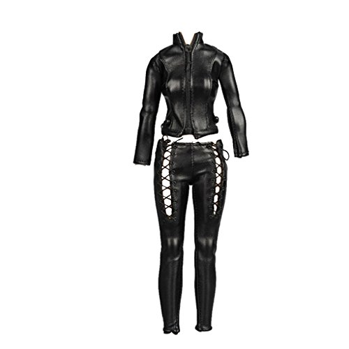 1/6 Female Black Faux PU Leather Zipped Biker Jacket for Hot Toys Female Body