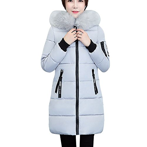 ANJUNIE Winter Down Jacket, Womens Warm Overcoat Slim Thicker Long Hoodied Coat Parka with Fur Collar Outwear(Gray,M) -