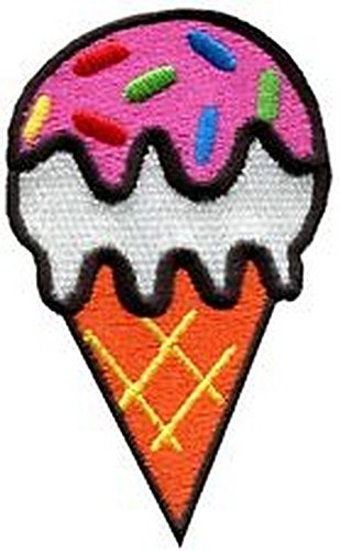 Spinner Patches Ice cream cone retro fun applique iron-on patch IG #199 Idea Bag Cloth Tee Shirt (Cone Spinner Cream Ice)