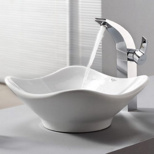 - Kraus C-KCV-135-14700CH White Tulip Ceramic Sink and Illusio Faucet, Chrome