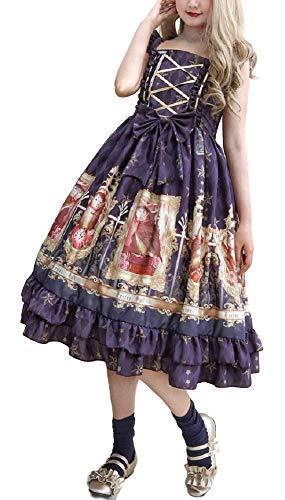 GK-O Lolita Vintage Ruffle Tiered Gothic Lolita Dress Owl Dark Sleeveless Dresses
