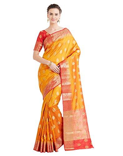Viva N Diva Sarees for Women's Banarasi Party Wear Shaded Mustard Colour Banarasi Art Silk Saree with Un-Stiched Blouse Piece,Free Size
