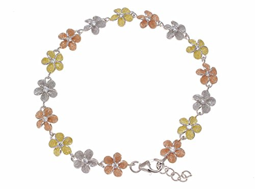 Arthur's Jewelry 925 Sterling Silver Yellow Rose Gold Tricolor Plated Hawaiian Plumeria Flower Bracelet 8mm 7