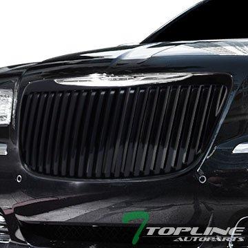 300c Vertical Billet Grille - Topline Autopart Black RR Luxury Vertical Front Hood Bumper Grill Grille ABS For 11-14 Chrysler 300 / 300C