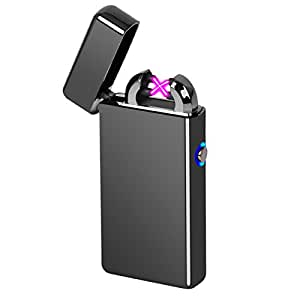 Electric Lighter, Epress Dual Arc Flameless and Windproof USB Rechargeable Lighter perfect for Cigarettes, Candles and More - Black