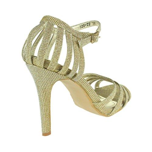 Frau Damen Sparkly Abend Hochzeit Party Abschlussball Braut High Heel Knöchel Gurt Sandalen Schuhe Größe Gold