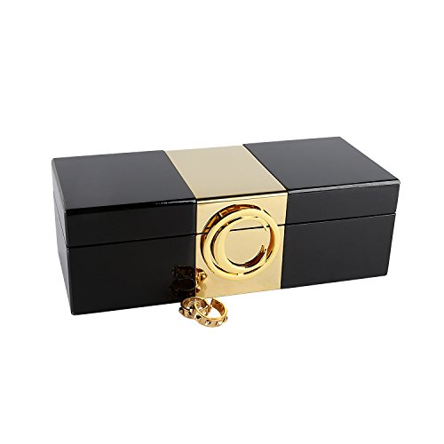 A Comely Initial Jewelry Box Lacquer Personalised Monogram High Gloss Wooden Accessories Storage Organizer Case (Black, C)