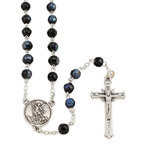 St. Michael Rosary with Black Crystal Beads