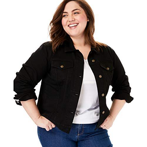 Woman Within Women's Plus Size Stretch Denim Jacket - Black, 20 ()