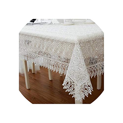 See Something White Europe Elegant Polyester Satin Full Lace Tablecloth Wedding Organza Table Cloth Cover Overlays Home Decor Textiles,Coffee,145x145cm -