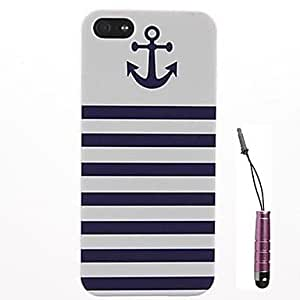 GOG- Blue Stripes Anchor Pattern Hard Case & Touch Pen for iPhone 4/4S