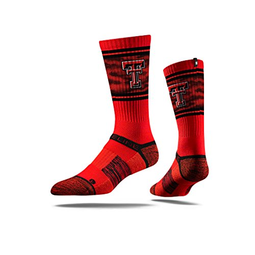s Tech Red Raiders Premium Athletic Crew Socks, Red, One Size (Texas Tech Player)