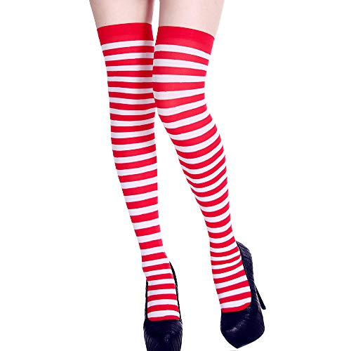 Teen Girls Stripe Tube Dresses Over the Knee Thigh High Stockings Cosplay Socks Props (Red) -