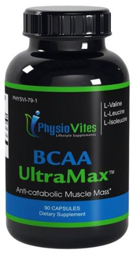 BCAA UltraMax acides aminés branchés L-leucine L-isoleucine L-valine BCAA Ratio 04:01:01 BCAA Physiovites UltraMax 90 Capsules 1 Bouteille