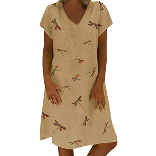 Usstore  Women Mini Dresses Loose Dragonfly ()