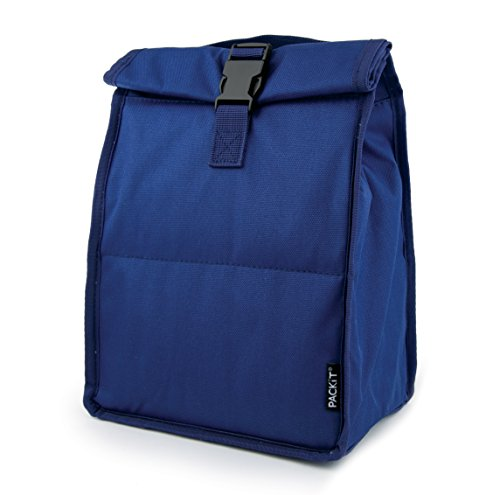 PackIt TB-RT-SNY Freezable Rolltop Lunch Bag, One Size, Navy Blue