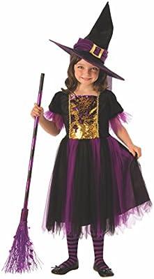 Halloween - Disfraz de Bruja para niña, dorado y morado - 5-7 años ...