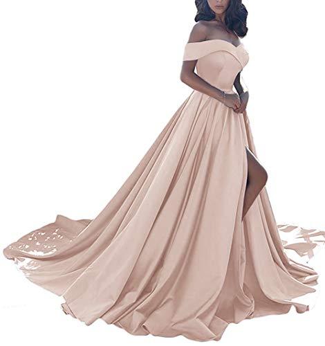 Homdor Split Off Shoulder Prom Evening Dress for Women A-Line Satin Formal Gown Rose Gold Size -