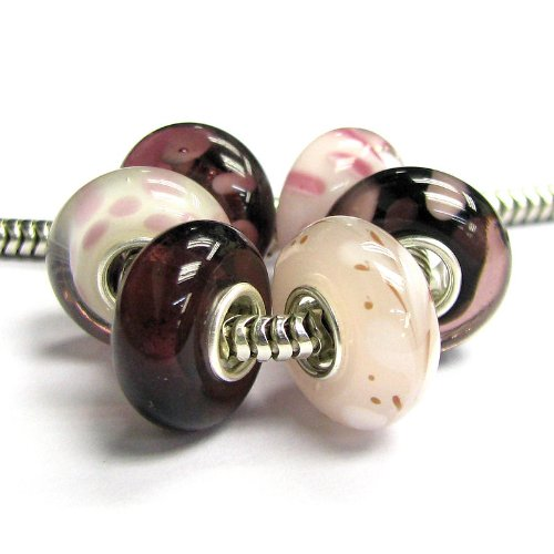 Queenberry Sterling Silver Pink White Purple Bundle European Style Glass Bead Charm by Queenberry