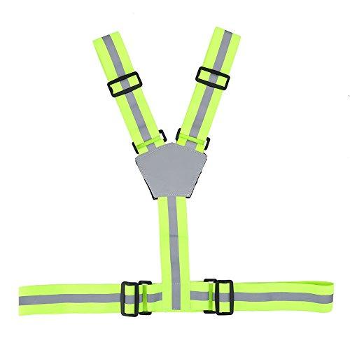 Chaleco Reflectante de Seguridad Con Tirantes Elásticos,Asixx, de Alta Visibilidad,Para Correr, Trotar, Andar En Bicicleta,...