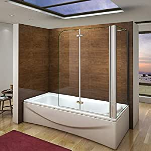 120x69x140cm Mamparas de Bañera Cristal Plegable 6mm Antical Con ...
