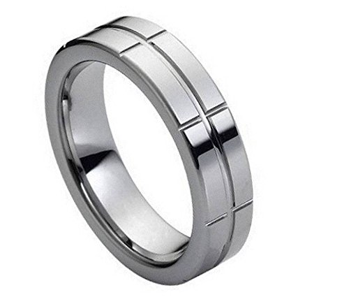 Men's Tungsten Carbide Shiny Grid Design Wedding Band Comfort Fit Ring Size 9 (Design Comfort Fit Wedding Ring)