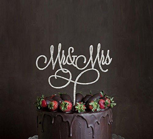 Monogram Silver Metal (Mr & Mrs Cake Topper, Acrylic Silver Engagement Wedding Bridal Shower Anniversary Cake Decoration Monogram)