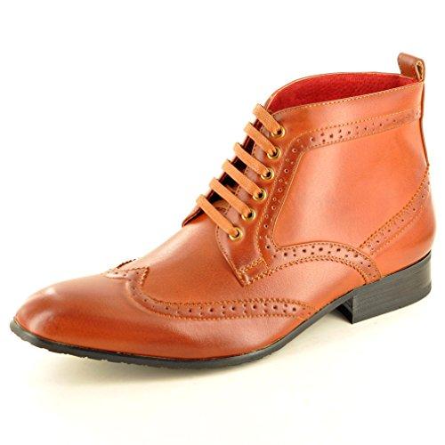 Herren Leder im italienischen Stil mit Schnürung, Round Toe Brogue Stiefeletten, Braun - Hellbraun - Größe: 45 EU