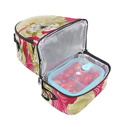 avec isotherme à pour Papillon réglable Cooler Tote lunch Pincnic l'école rétro Alinlo Boîte Sac bandoulière à tYHqzqBw