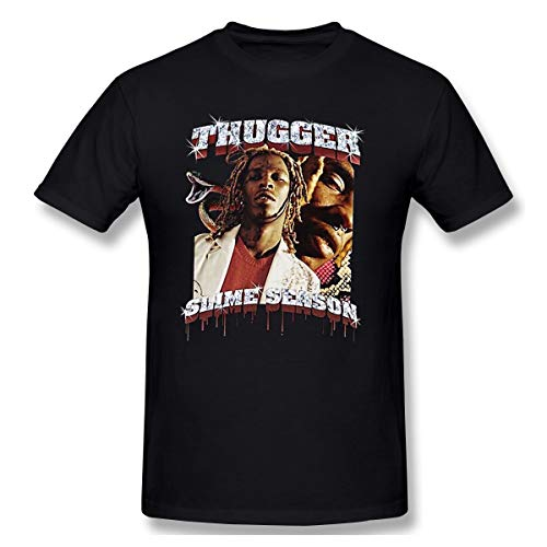 (PTlues Men's Slime Season Young Thug Thugger Life Fit T-Shirts Black M)