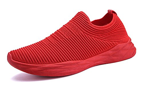 No.66 Town Men Flyknit Sneakers,Running Sock Shoes Red