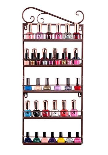 - IWIVI Metal Nail Polish Wall Mounted Rack Organizer, 5 Tiers Nail Polish Shelf Display Rack Holds 50 Bottles (Bronze)