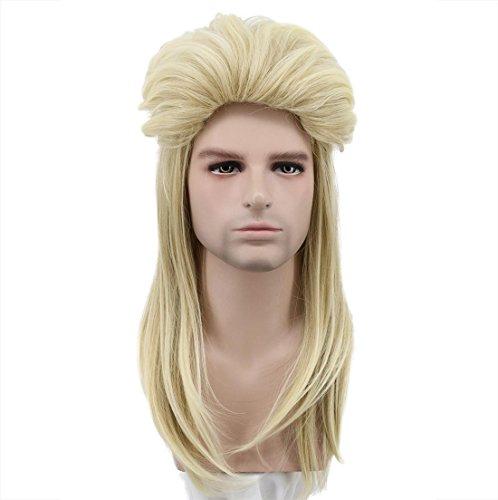 Karlery Men Women Long Straight Blonde Wig 70s 80s Heavy Metal Rocker Wig Disco Mullet -