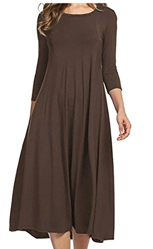 Dress Loose Fit Coffee Party Womens Color Domple Maxi 4 Round 3 Sleeve Swing Solid Neck zxOS8xA